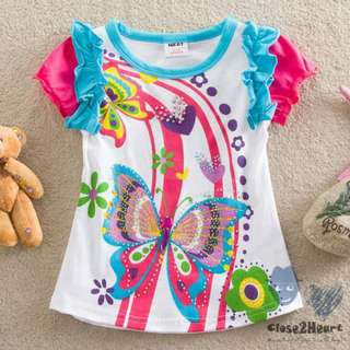 Rhinestone Butterfly: Organic Cotton Children Clothing Summer Casual Wear Embroidery Neck T-ShirtsRhinestone Butterfly: Organic Cotton Children Clothing Summer Casual Wear Embroidery Neck T-Shirts