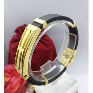Authentic Bangkok Gold 10k Saudi Gold Keep The Faith Bracelet Bangle Rubber Silicone Holy Cross Religious Bangle Gold Unisex Bracelet Non Tarnish (Not Pawnable)