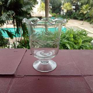 Vintage Etched Glass Vase
