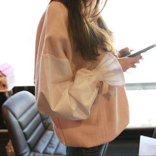 蝴蝶結綁帶喇叭袖粉色甜美韓系上衣正韓上衣