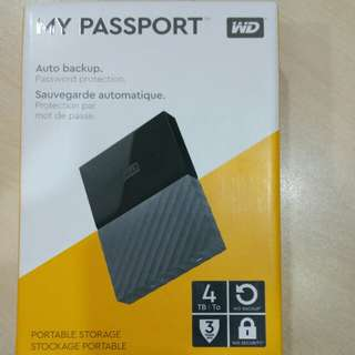New WD 4TB Portable HDD Hard Disk Drive My Passport 4.0 TB external Western Digital 2.5""