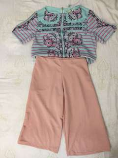 Take set Scoop proj blouse and cullotes