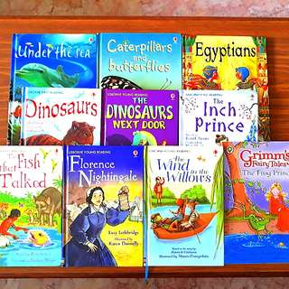 10 for $25: USBORNE: Caterpillars and Butterflies, Egyptians, Under the Sea, Dinosaurs, The Inch Prince, The Fish that Talked, The Dinosaurs Next Door, The Wind in the Willows, Florence Nightingale; ORCHARD: Grimm's Fairy Tales~The Frog Prince