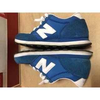 二手正品 NEW BALANCE 藍色白底後麂皮 復古休閒慢跑鞋 女鞋 23.5cm