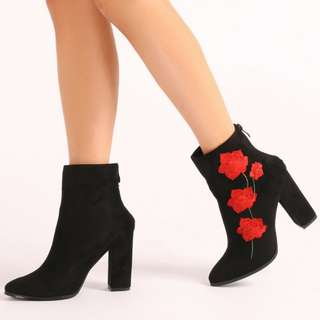 Public Desire Romeo Rose Embroidered Ankle Boots in Black Faux Suede