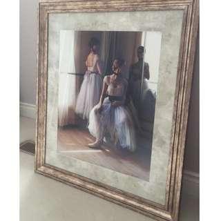 framed ballerina painting