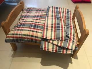 Dolls wooden bed with cushion