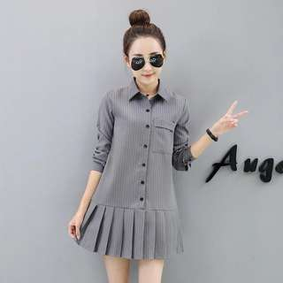 Grey Coloured Buttons Down Pleated Longsleeves Collared Dress