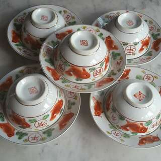 Beautiful Vintage Porcelain Bowl and Plate x 10pcs