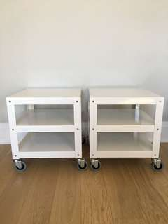White Metal Rolling Side Tables
