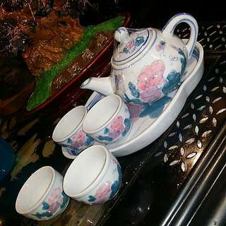 Chinese Antique  Vintage Teapot Set HandPainted.. Floral Morning Glory