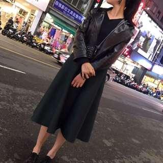 墨綠太空棉裙