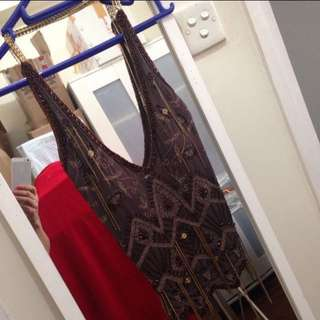 MNG brown beaded and chained halter backless top with chains