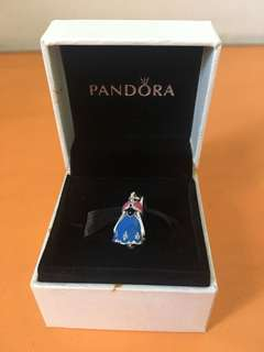 Authentic Pandora Disney Anna Dress Silver Dangle with Blue, Pink and Black Enamel