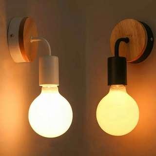 壁燈 現貨 實木壁燈 現代個性玄關走道更衣室簡約壁燈鐵藝 工業風壁燈 E27拉尾燈泡 愛迪生燈泡 龍珠燈泡
