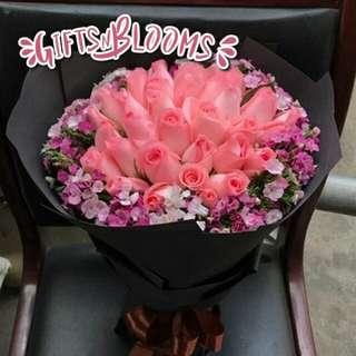Fresh Flower Bouquet Anniversary Birthday Flower Gifts Graduation Roses Sunfowers Baby Breath -  41740