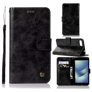 華碩Asus Zenfone 4 Max/ Max Pro ZC554KL復古黑色電話皮套 保護套 保護殼 連電話繩