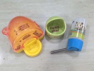 Hamster Water Bottle, Sand Bath & Food Bowl