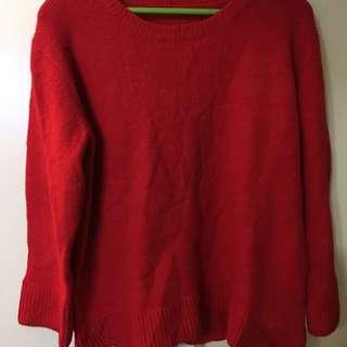 日韓代購紅色QQ毛上衣
