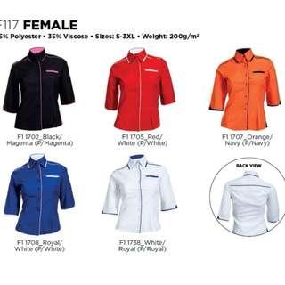 2pcs Female 3/4 Sleeve Corporate Shirt,F1 Uniform,Business Shirt, Blouse, Formal Shirt F117