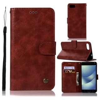華碩Asus Zenfone 4 Max/ Max Pro ZC554KL復古酒紅色電話皮套 保護套 保護殼 連電話繩