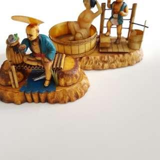 Handmade wooden figurines old SG
