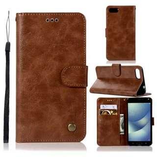 華碩Asus Zenfone 4 Max/ Max Pro ZC554KL Flip Cover 深啡色電話套 連電話繩