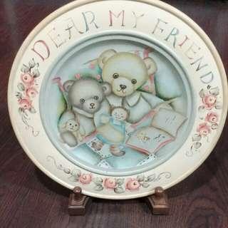 <手工自製>木製泰迪熊彩繪裝飾盤