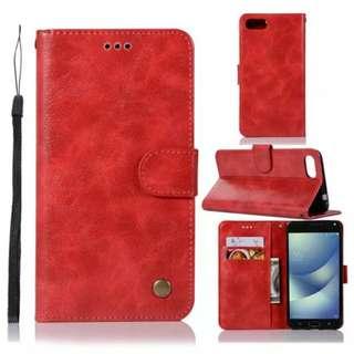 華碩Asus Zenfone 4 Max/ Max Pro ZC554KL復古紅色電話皮套 保護套 保護殼 連電話繩