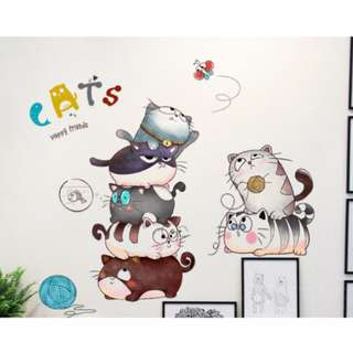 [Mix&Match:2@$50] Cats Wall Sticker/ Decal/ Wallpaper/ Kids/ Children/ Nursery/ Bedroom/ Living/ Wall Decal/ Sticker/ Mural/ Home/ Birthday/ Party Decor/ Backdrop/ Centrepiece/ Props/ Accessories/ Removable