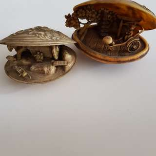 Handmade wooden figurines old SG