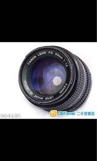 Canon lens fd 50mm 1:1.4