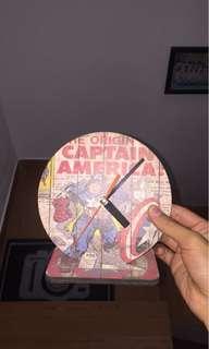 Wooden clock captain america