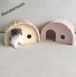 Hamster Wooden Hideout House & Bridge Toy