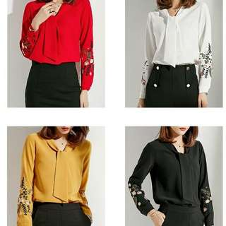 Embroidery long sleeve blouse with ribbon