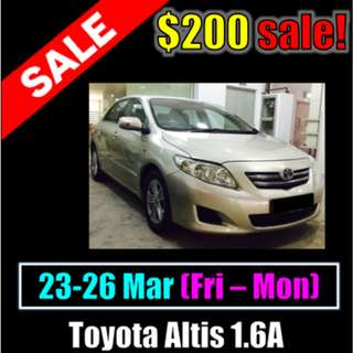 $200 Toyota Altis 1.6A Weekend March Sale