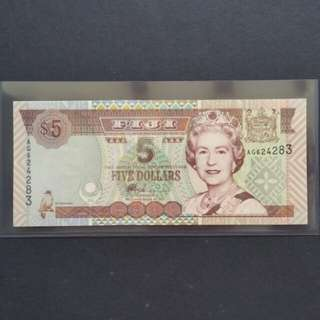 2002 Fiji $5 Currency Banknote