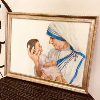 MOTHER TERESA HAND PAINTED WATERCOLOUR PAINTING WITH FRAME