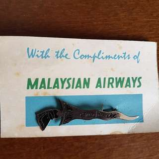 Malaysian airways - silver Kris jet pin badge