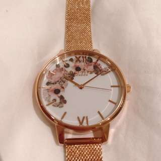 OLIVIA BURTON signature rose gold mesh watch