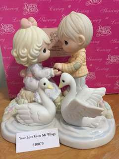 Limited Edition Precious Moments Couple with Swans Figurine : Your Love Gives Me Wings