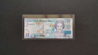2010 Cayman Island $1 Currency Banknote
