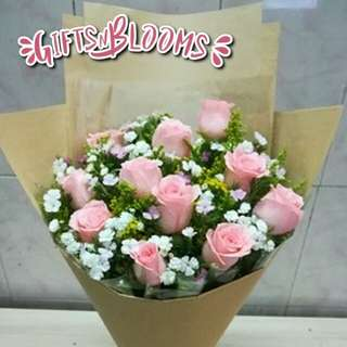 Fresh Flower Bouquet Anniversary Birthday Flower Gifts Graduation Roses Sunfowers Baby Breath -  423EA