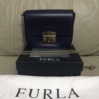 FURLA Chain Shoulder Bag Navy (Super Mini Size)