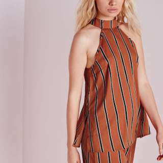 Missguided split side high neck cami in tan