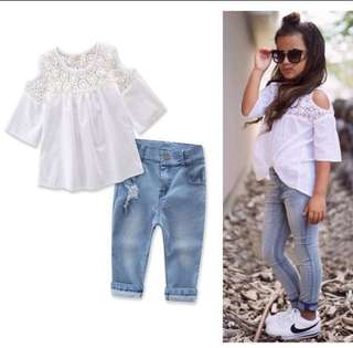 Toddler Girls Jeans Pants+White Lace Top Long Sleeve