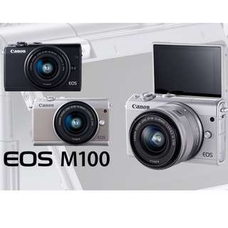 CanonEOS M100 Mirrorless Digital Camera with 15-45mm Lens (white/grey)