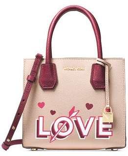 Michael Kors Mercer medium messenger LOVE 特別版粉紅色拼色手袋