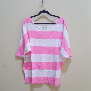 Cotton on batwing pink stripes