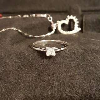 周大福. 白金鑽石吊咀頸鏈. 鑽石戒指